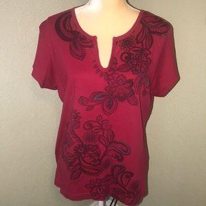 Tommy Hilfiger Red Print Shirt Size XL